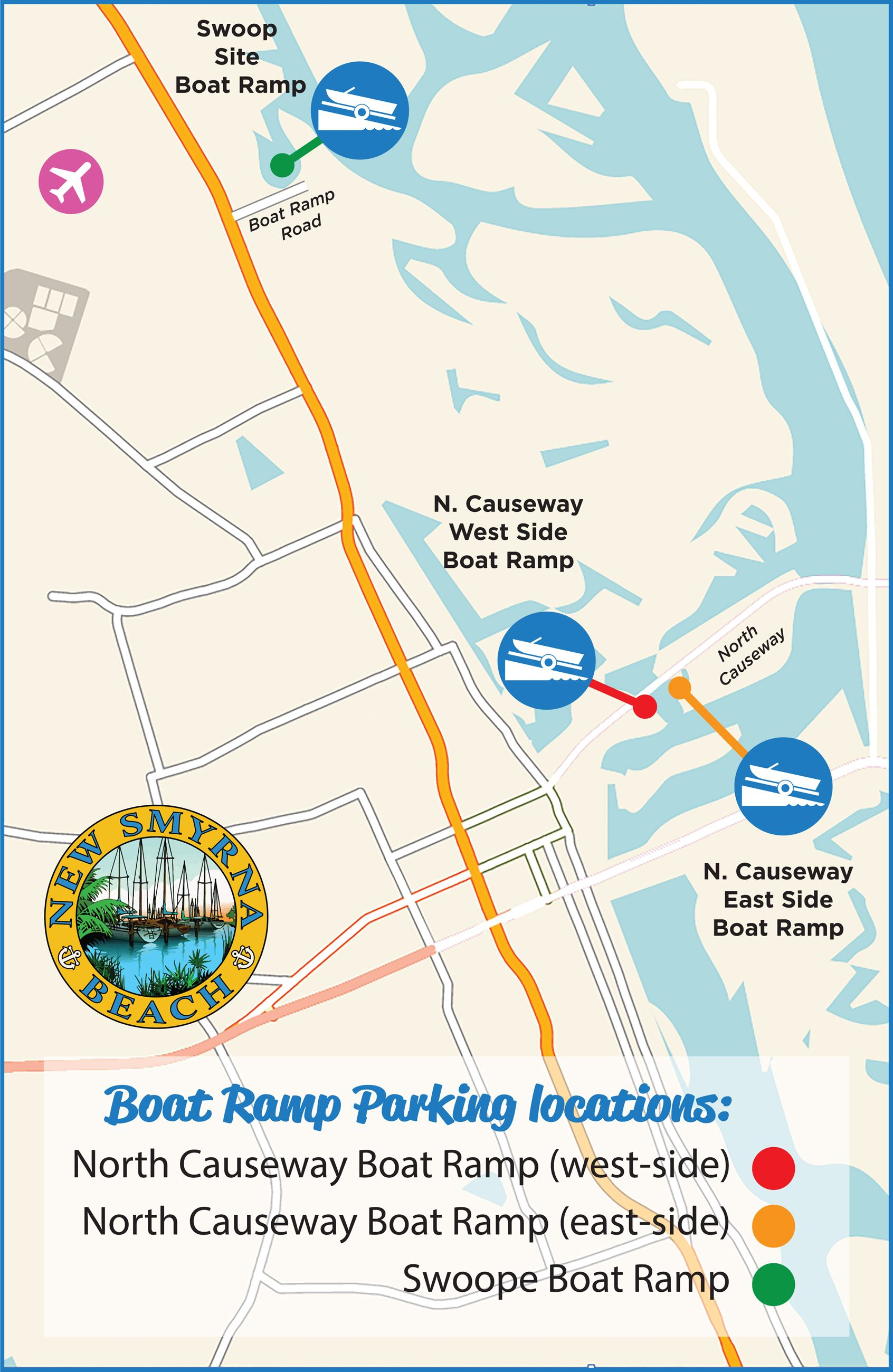 Florida Boat Ramp Map Boat Ramp Parking | New Smyrna Beach, FL   Official Website