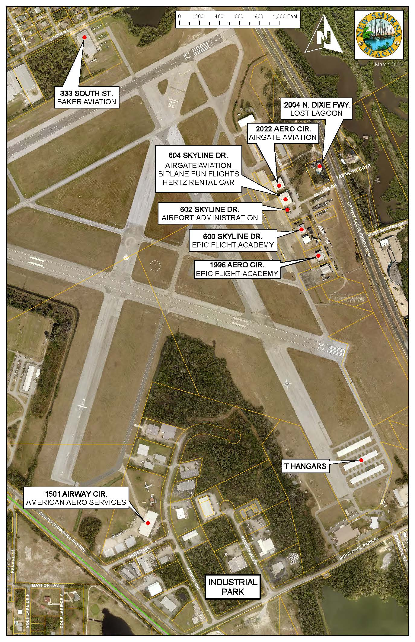 Map depicting businesses on airport property. Please call (386) 410-2680.