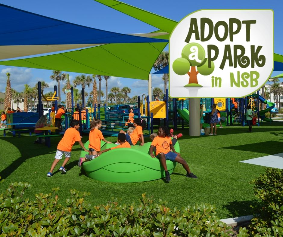 Photo of children playing at 27th Avenue Beachfront Park with an Adopt-a-Park in NSB logo